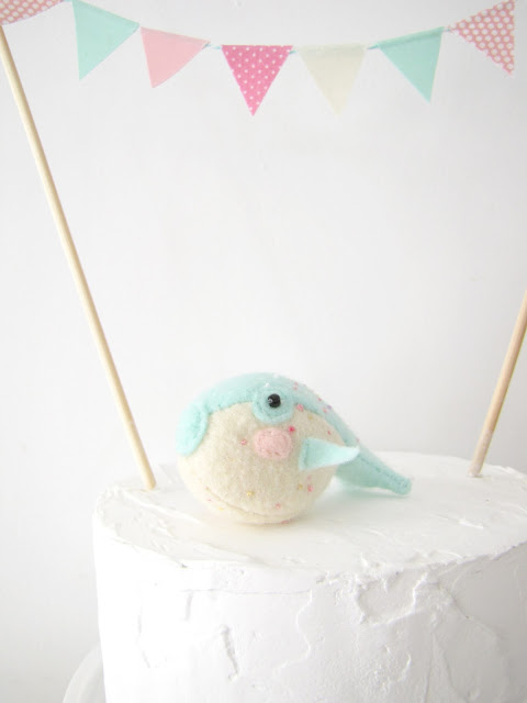 Pastel Party Puffer Fish with Cake Topper, Athena and Eugenia collaboration with Melissa Bee Patterns - Happy Birthday Party Decor gift, felt blowfish, stuffed animal, bunting