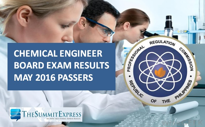 May 2016 Chemical Engineering (ChemEng) board exam results