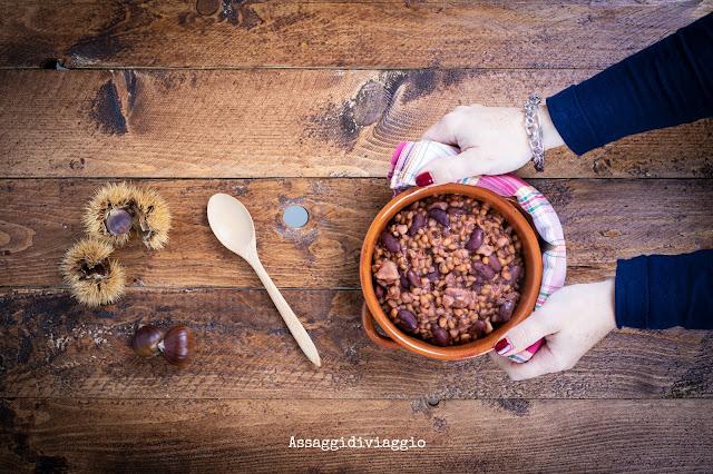 Zuppa di farro, fagioli e castagne
