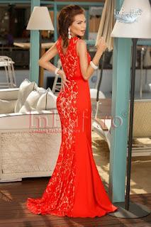 Rochie lunga de ocazie bistrech rosu si dantela2