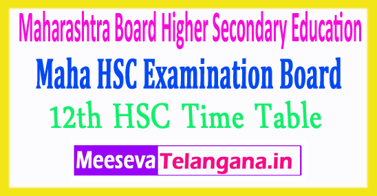 Maharashtra Board Higher Secondary Education 12th HSC Time Table 2018 Download