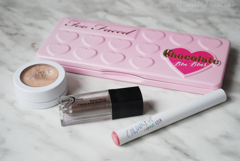 bbloggers, bbloggersca, canadian beauty bloggers, 2016 beauty favorites, faves, favourites, too faced, chocolate bon bons palette, lookybrow, brow fibres, brow fibers, colourpop cosmetics, lippie stix, lunch money, contempo, highlighter, sephora