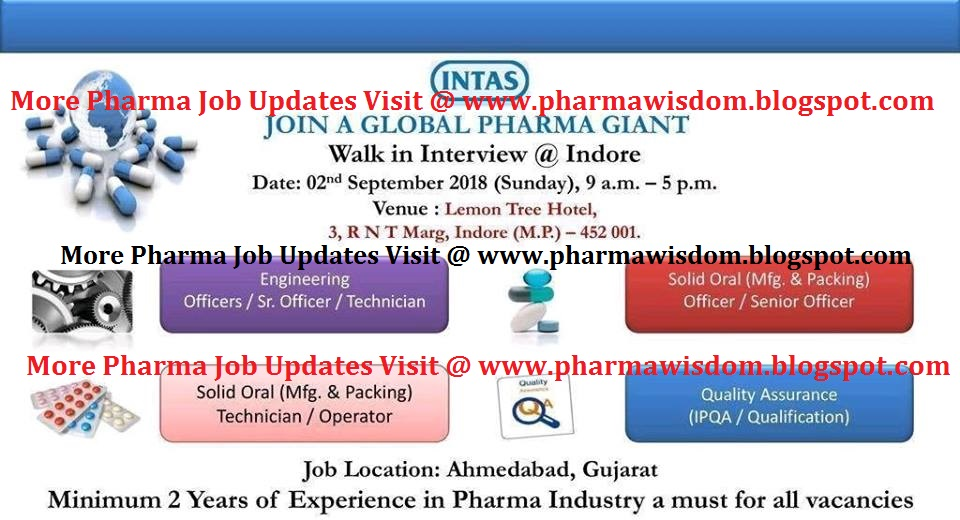 Intas Pharma - Walk-In Interview for Multiple Openings on
