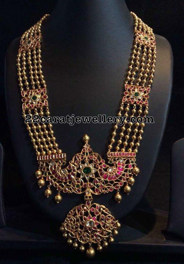 Gold Balls Long Chain Kundan Locket