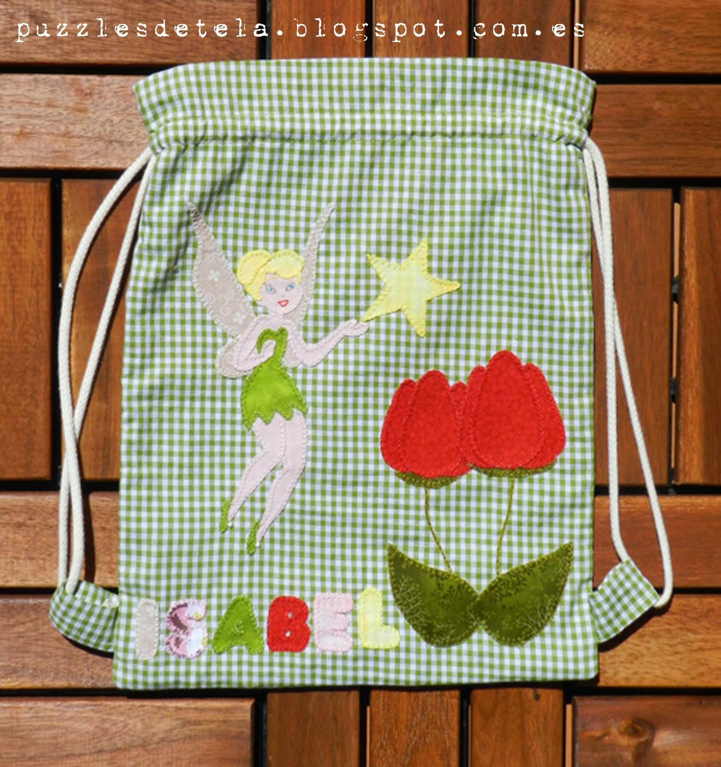 Bolsas de merienda patchwork, patchwork, mochilas, bolsas de merienda, bolsas patchwork, puzzles de tela, campanilla, bolsa de merienda Campanilla, Hadas, bolsa Hadas