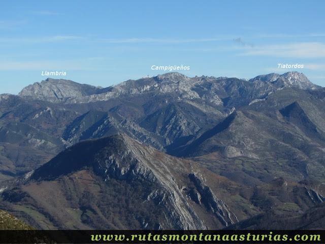 Vista de la Llambria, Campigueños y Tiatordos.