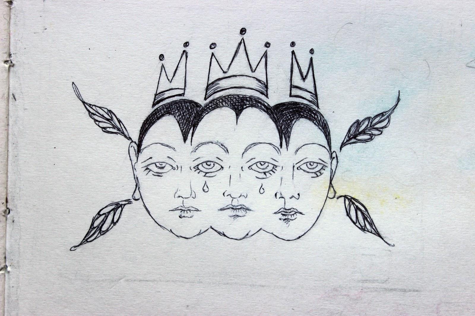 Sketchpad Notebook Sketch Drawing Pencil Pen Three Queens Faces Crown