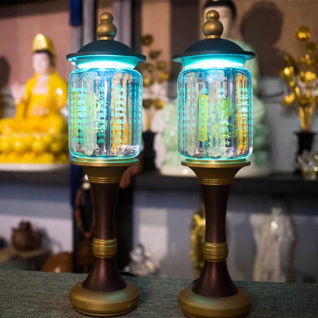 Shop Tĩnh Tâm Quán: Đèn Led Cúng Phật Khắc Kinh Bát Nhã Chữ Vàng - Call: 0932.808.715 – zalo