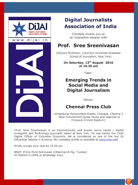 Interactive session with Prof. Sree Sreenivasan on Emerging trends in social media and digital journalism