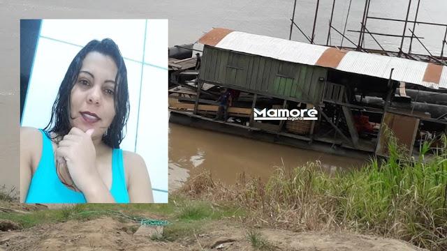 Mulher morre afogada em draga que afundou no rio Madeira