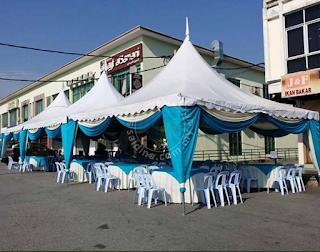Pakej Lengkap Set Kanopi Arabian bersama aksesori meja, kerusi dan lain-lain