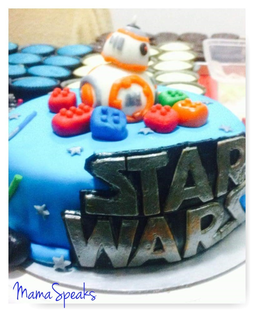 My son loves BB-8 so he gets to be the cake topper.