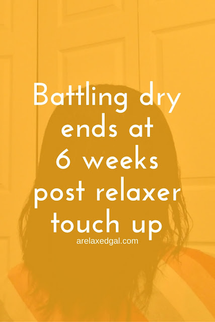 Battling dry ends during a wash day at 6 weeks post relaxer touch up. | arelaxedgal.com