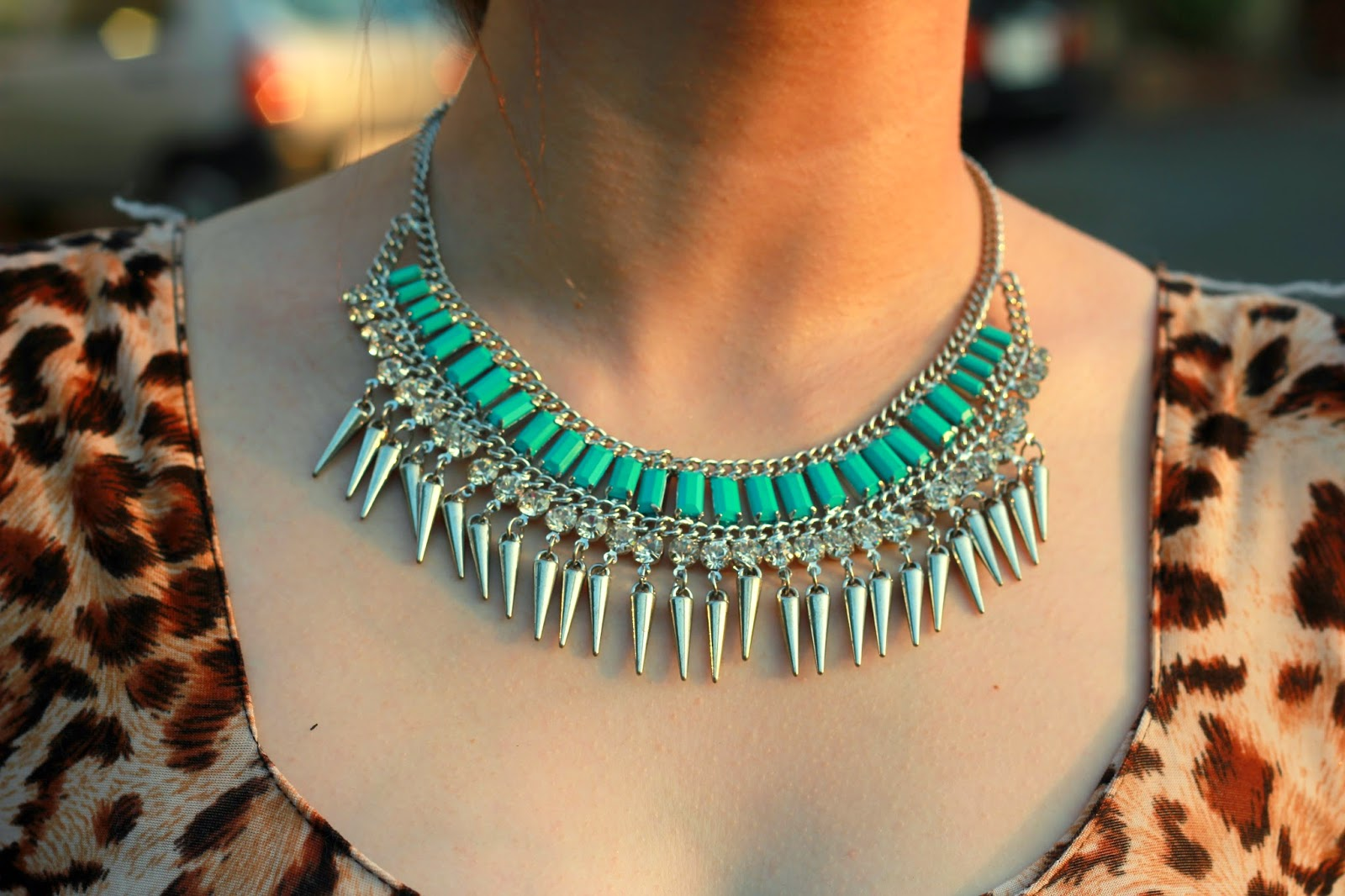 Mint Green & Silver Spike Necklace