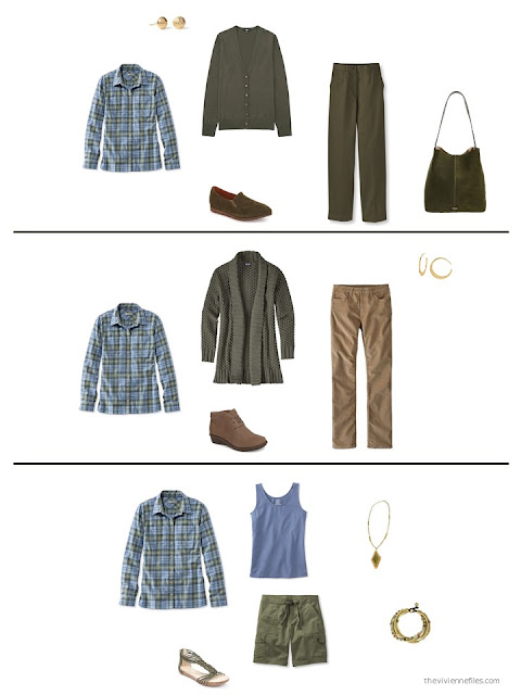 three ways to wear a plaid shirt from a capsule wardrobe