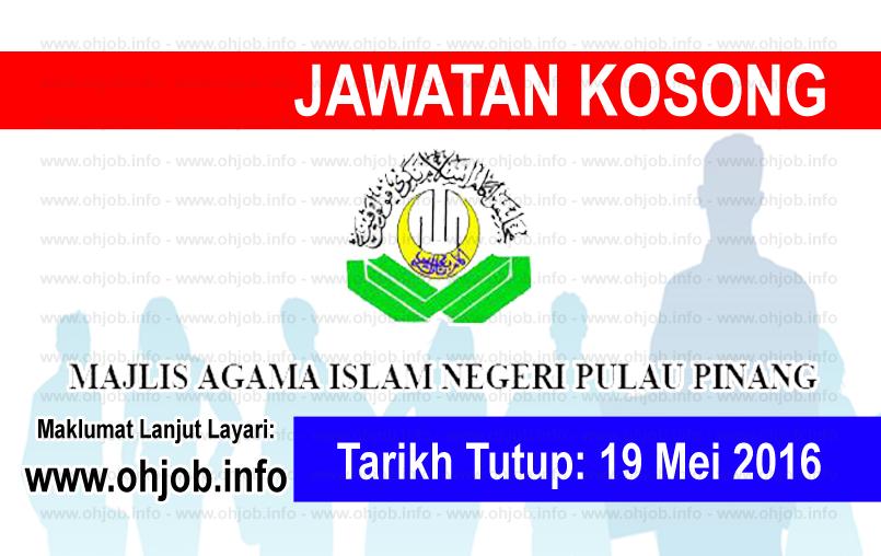 Jawatan Kerja Kosong Majlis Agama Islam Negeri Pulau Pinang (MAINPP) logo www.ohjob.info mei 2016