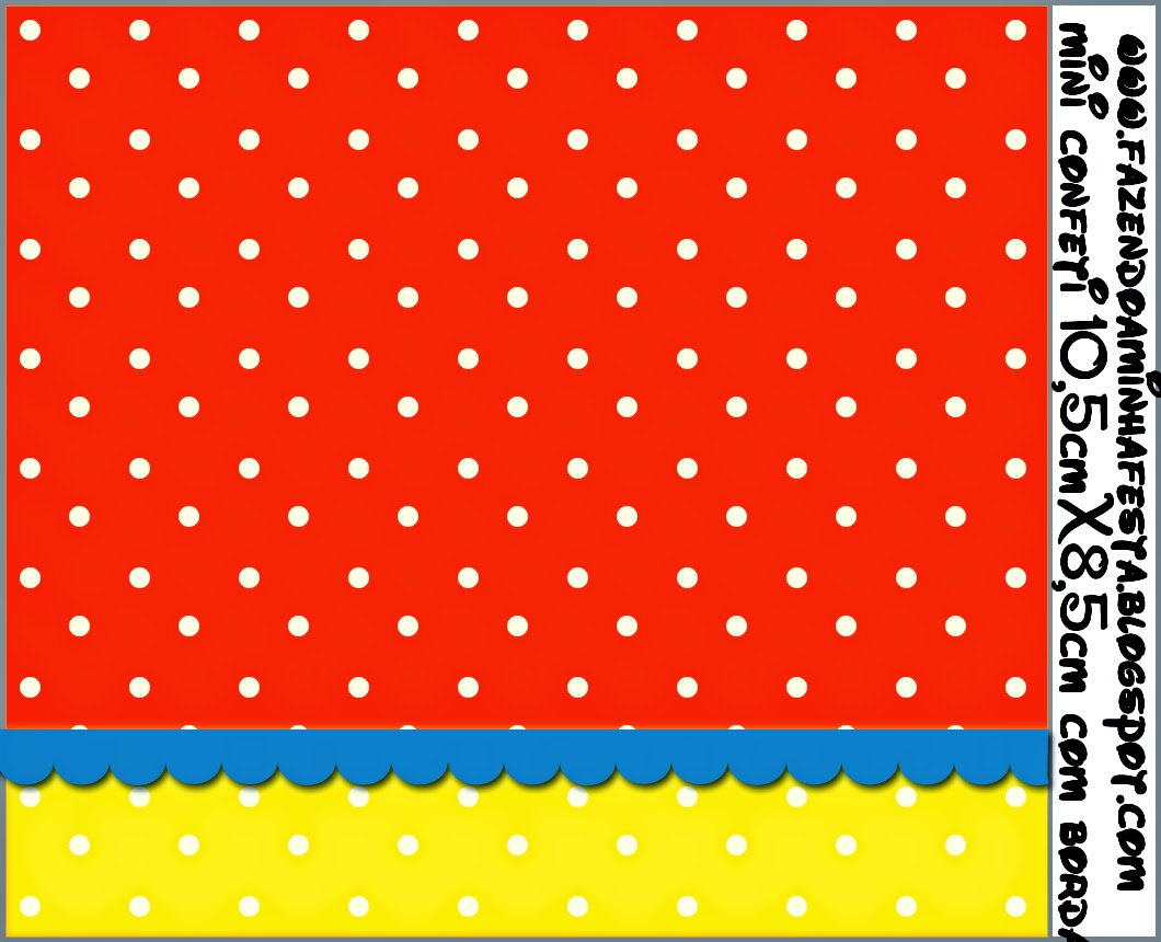 Rojo, Amarillo Y Lunares Blancos: Etiquetas Para Candy Bar