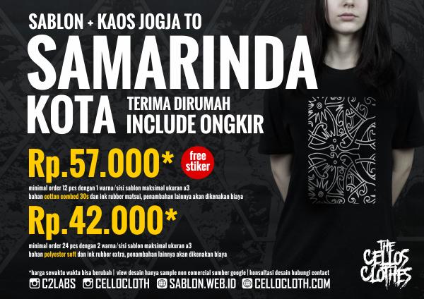 Harga sablon kaos SAMARINDA Kota dari Jogja include ongkos kirim