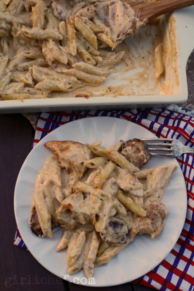 Creamy Penne w/ Chicken & Smoked Sausage {HUNGRY book tour} | www.girlichef.com