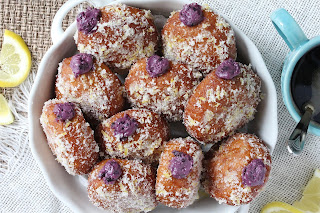 Blueberry Goat Cheese Donuts with Lemon Sugar