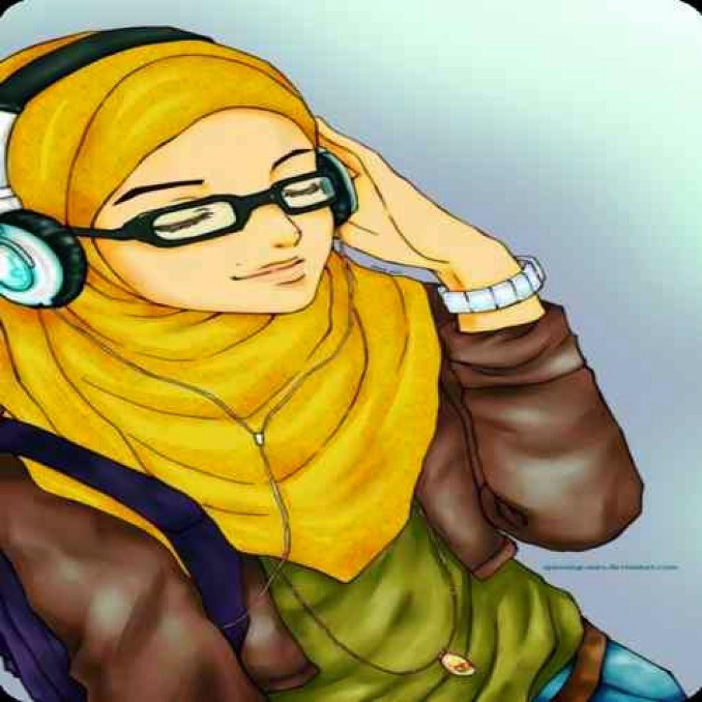 Top Gambar Kartun Muslimah Berkacamata Top Gambar