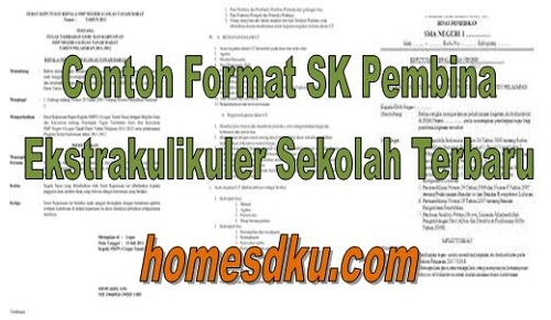 Contoh Format SK Pembina Ekstrakulikuler Sekolah Terbaru