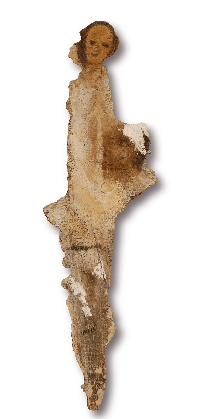 """788a78998959 peinture sur """"volige"""" deux visages de personnages dont la symbolique  biblique n est pas évidente. Appartient à François Mesny"""