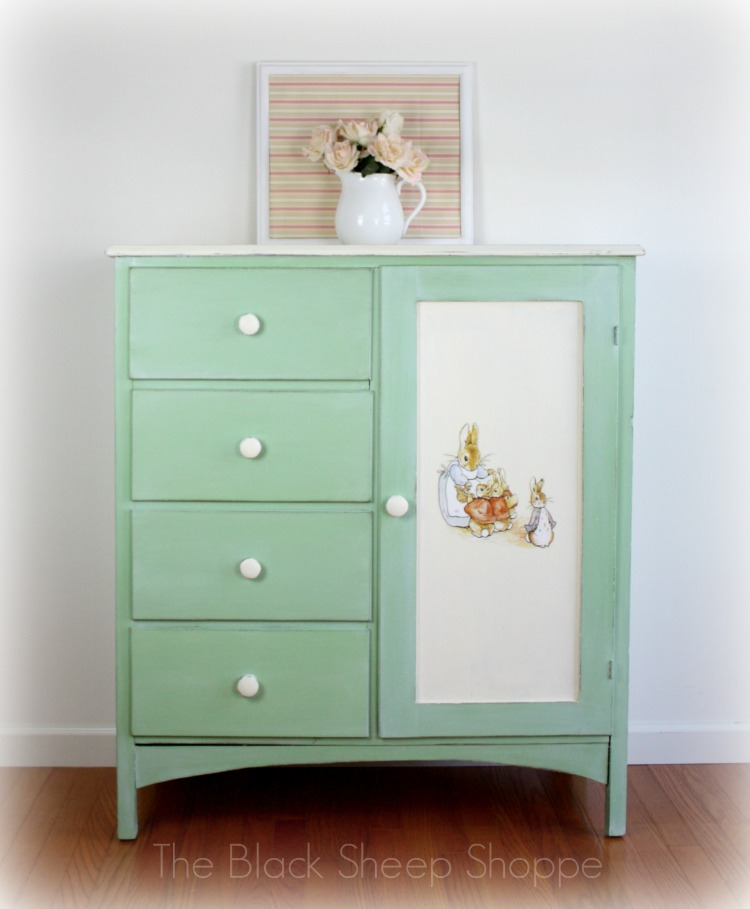 After: Vintage chifferobe with Peter Rabbit theme.
