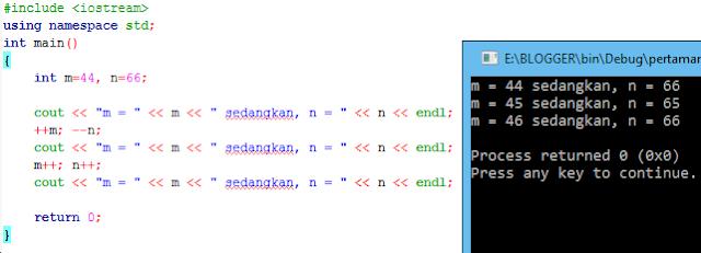 10# Operator Increment Decrement, Bitwise, Logika Bahasa Pemrograman C++
