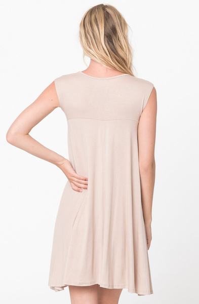 Buy Now Taupe Jersey Scoop Neck Cap Sleeve Dress Tunic Online -Final Sale- $20 -@caralase.com