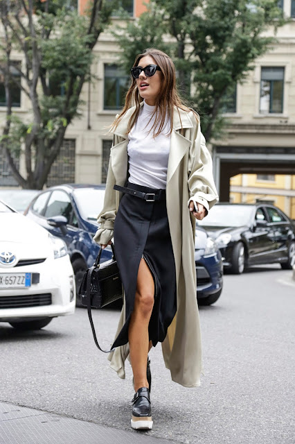 wrap skirt and trench