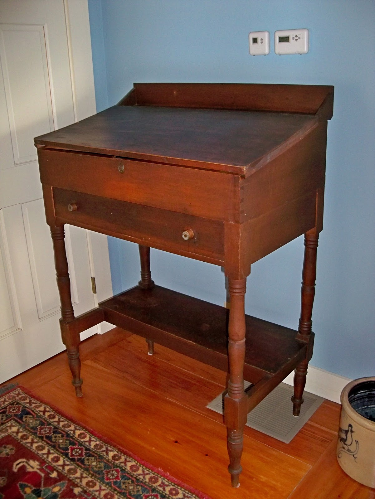school master desk antique New hampshire origin hand made - ANTIQUE COUNTRY STAND UP TEACHER'S DESK - FOR SALE Goshen Antiques