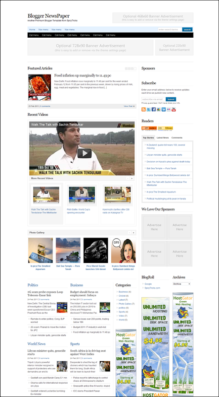 Blogger Newspaper Adsense And Seo Friendly Premium Blogger Template