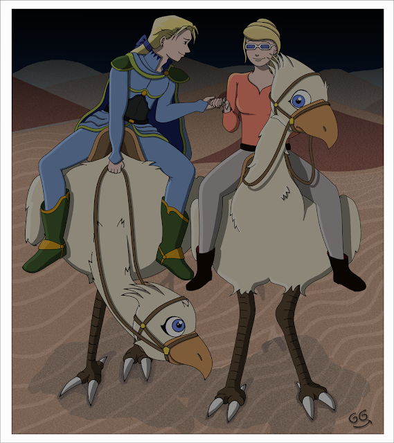 Edgar Roni Figaro et GamyGirl, à dos de Chocobo, Final Fantasy VI