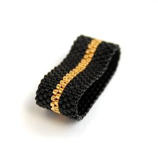 купить авторское украшение из бисера женское черное кольцо 16.5 размер купить