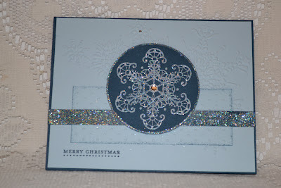 http://stampwithtrude.blogspot.com Stampin' Up! Christmas card by Trude Thoman Snowflake Soiree stamp set
