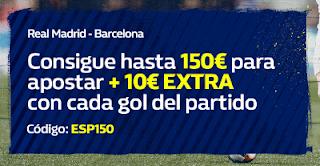 william hill Promoción de Bienvenida 150€ + 10€ por gol especial Clásico 25-27 febrero