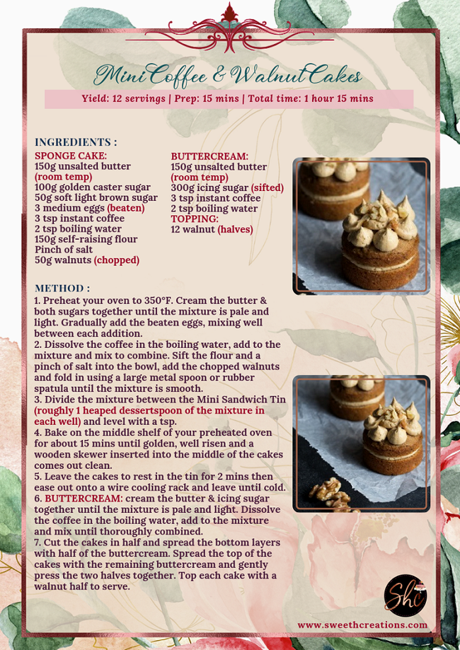 NO. 9 - MINI COFFEE & WALNUT CAKES RECIPE