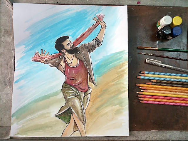 Ram Charan Rangasthalam Movie Still ArtWork - Water Poster Colour and Colour Pencil Work in Hyderabad - Professional and experienced Portrait sketch drawing artist