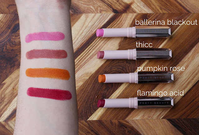 on-arm swatch fenty beauty mattemoiselle ballerina blackout, thicc, pumpkin rose, flamingo acid