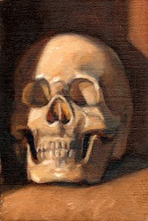 Oil painting of a plastic skull facing the viewer, almost.