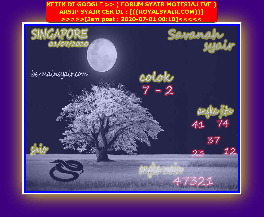 Kode syair Singapore Rabu 1 Juli 2020 198