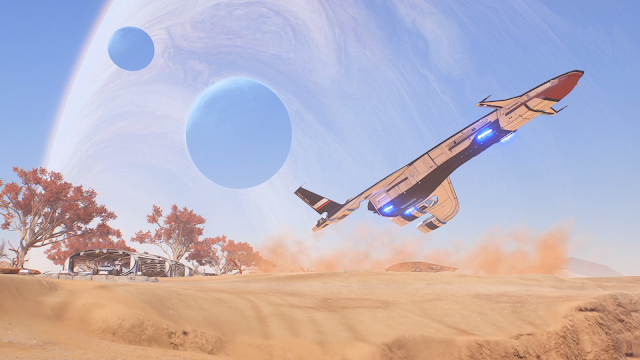Screenshot of the Tempest and the planet Elaaden in Mass Effect: Andromeda