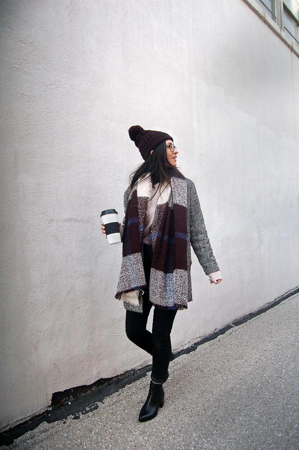 Gray Coat Blanket Scarf Beanie