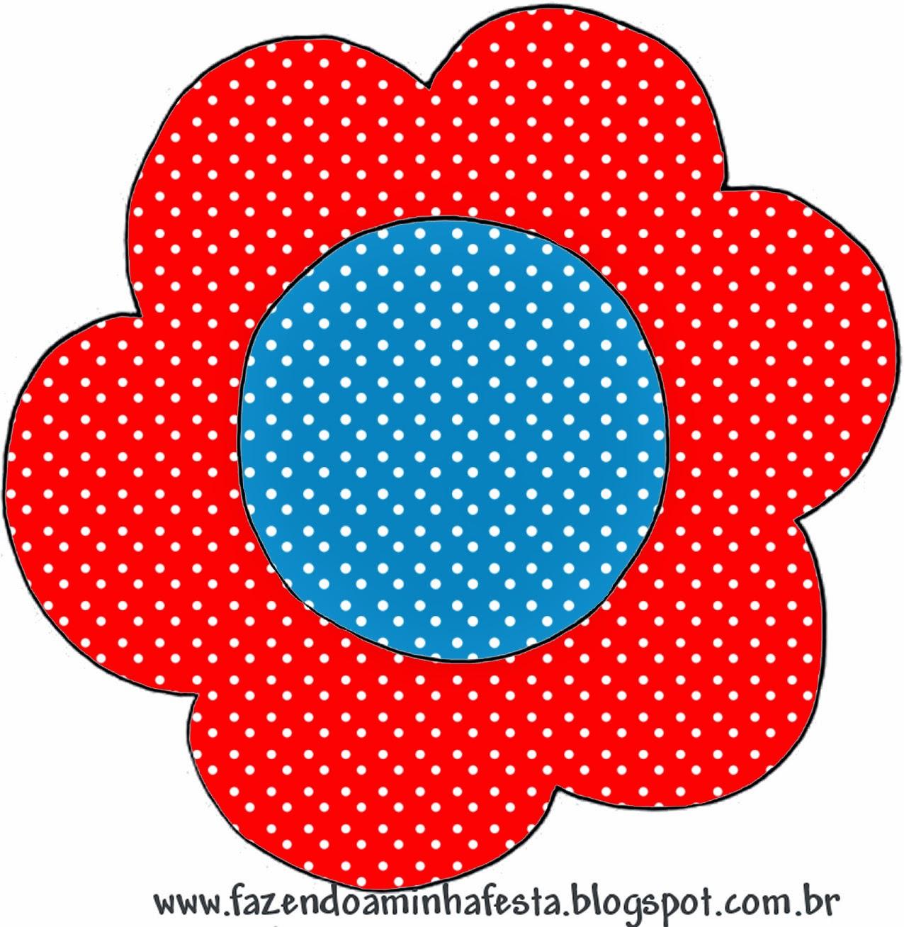 Tarjeta con forma de flor de Rojo, Amarillo y Azul.