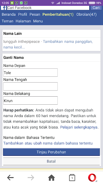 cara membuat nama alternatif di facebook