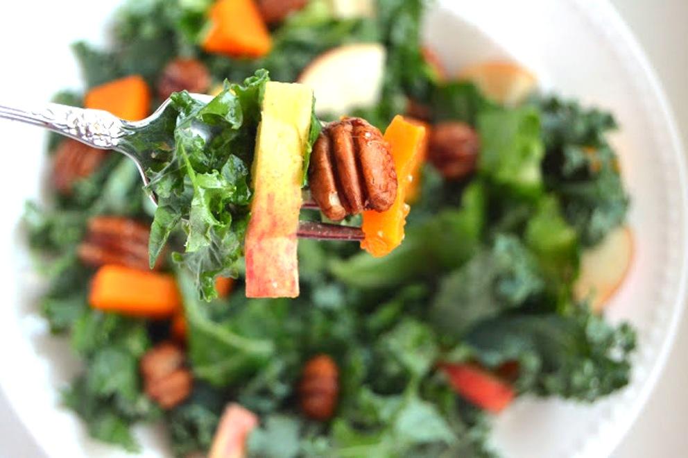 how to make kale onion cider salad