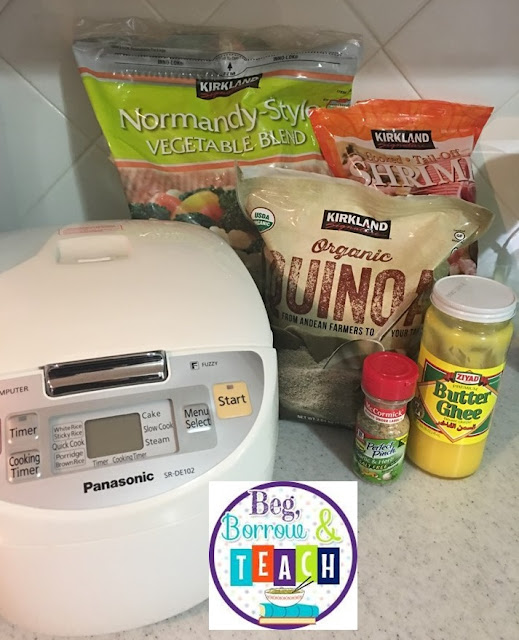 Rice Cooker meals, healthy home-cooked meals, 5 ingredients or less, meals in less than 30 minutes.