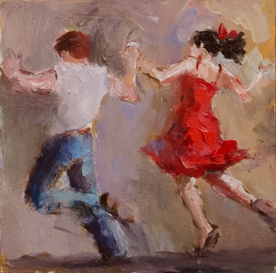 lively young man and woman dancing jive holding hands facing away