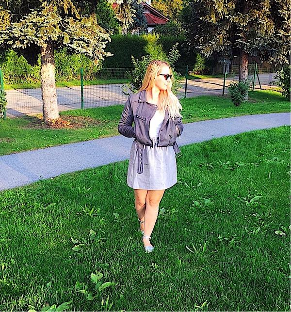 Herbst Look mit Lederjacke